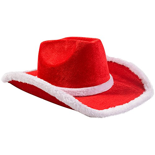 Santa Cowboy Hat – Christmas Hats Funny – Santa Costume Accessories – By Funny Party Hats