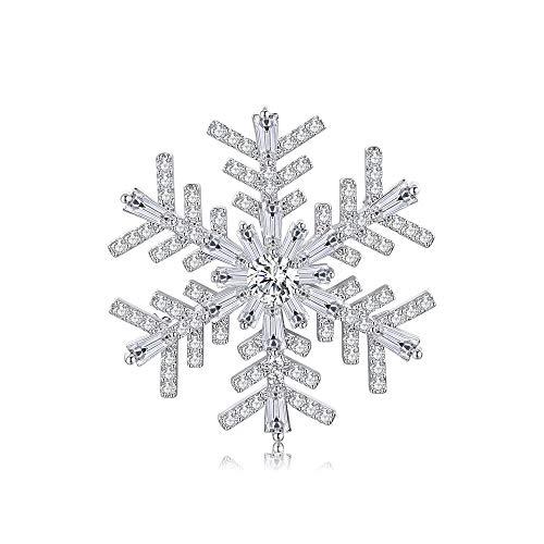 Italina Bijoux Brosche für Frauen Mode Schneeflocke Blume Form Elegant Damen Geschenk Schmuck Abzeichen Dekoration Brooch Rhodiniert