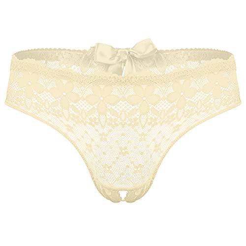 Alvivi Herren Spitze Slip Ouvert Höschen String Bikini Briefs Mini Tanga Panties Offener Schritt Unterwäsche Reizwäsche Nackt Einheitsgröße