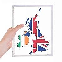 ユニオンジャック柄ブリテン地図の国の文化 硬質プラスチックルーズリーフノートノート
