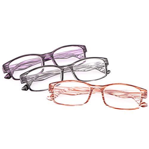 Un Pack de 3 Gafas de Lectura Mujer Hombre Gafas Bloqueo Luz Azul 3 piezas Anti Luz Azul con Protección UV400 Unisex Anteojos Para Lentes de Aumento Leer Ver Cerca Presbicia - Ligeras,Comodas Lectores 🔥