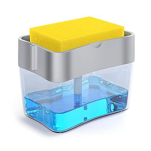 Dispensador de jabón para cocina, dispensador de jabón de cocina, 2 en 1, soporte para esponja, recargable, resistente e inoxidable, 13 onzas