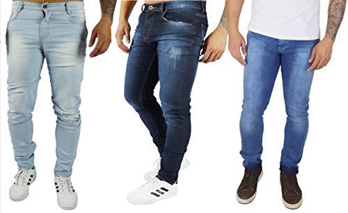 Kit 3 Calças Jeans Skinny (Azul Claro - Azul Médio - Azul Escuro, 44)