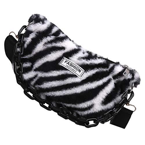 ABOOFAN Bolso de hombro con estampado de cebra de peluche, bolso pequeño de piel sintética de leopardo, bolsas simples para las axilas, para el día de San Valentín, cumpleaños, regalo de Año Nuevo