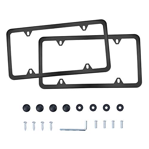 LivTee 4 Holes Stainless Steel License Plate Frames, 2 PCS Car Licence Plate Covers Slim Design with Bolts Washer Caps for US Vehicles, Black
