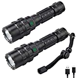 2 Pack UltraFire Rechargeable Flashlight (UFB26 Battery Included), UF-1102 Super Bright LED Tactical Flashlight, 1000 High Lumens, 5 Modes, IP65 Water Resistant Torch