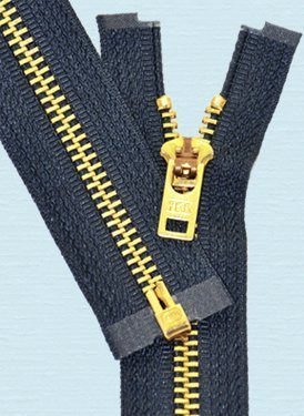 YKK Sale 6' Brass Zipper - YKK #5 Brass Zipper Separating with Locking Pull - 560 Navy (1 Zipper/Pack)