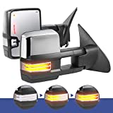 MOSTPLUS Power Heated Towing Mirrors Compatible for 2007-2017 Toyota Tundra/2008-2017 Toyota Sequoia w/Sequential Turn light, Parking Lamp, Blind Spot,Running Light(Set of 2) (Chrome)
