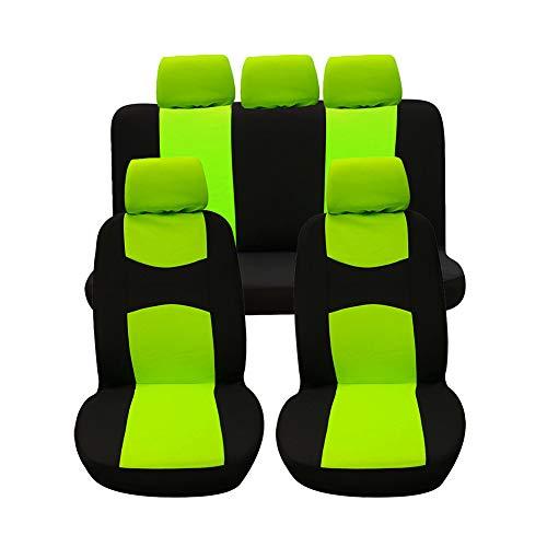 Autositzbezüge, Komplettset Vordersitze und Rücksitze Universal, Autoinnenausstattung Auto-Schonbezüge Grün 9 Stück
