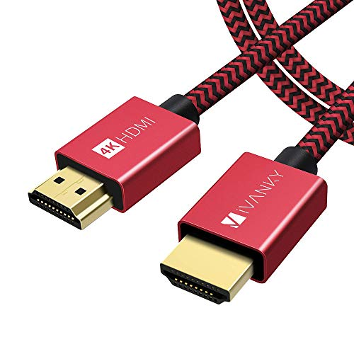 HDMI Kabel 2M, iVANKY HDMI Kabel, 4K HDMI Kabel, 2M/Rot HDMI Kabel unterstützt UHD, 2160p, HD, 1080p, 4K@60Hz, HDR und mehr (vergoldete Anschlüssen und Metall-Abschirmung) - Rot