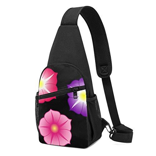 JONINOT Mochila de la honda del Daypack de 3 flores coloridas, Mochila ligera del pecho del hombro Bolso deportivo Bolso bandolera Crossbody