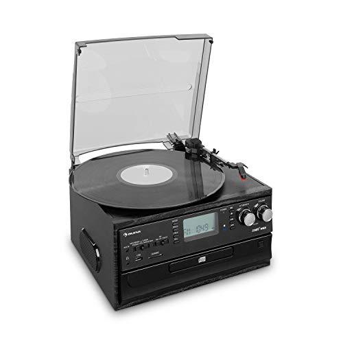 auna Oakland equipo estéreo retro - Bluetooth, tocadiscos, tracción por correa de 33/45/78 rpm., reproductor de CD, sintonizador de radio FM, pletina de cassette, reproduce MP3, puerto USB y SD, negro