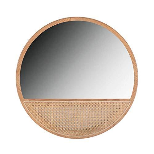 YVX Espejo Redondo de ratán de Madera Maciza, Espejo de Entrada Retro, Espejo de tocador de baño de Pared, Espejo Decorativo de 23,6 Pulgadas para Sala de Estar, Dormitorio y Hotel