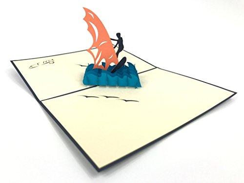 Surfer Geburtstag Thema handgefertigt Birthday Greetings Cards Kirigami Origami Papier 3D Pop up Karten Postkarten