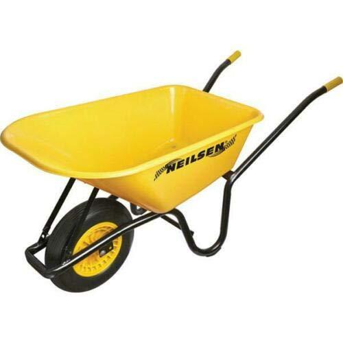 Carretilla de jardín de 90 litros, resistente, de 160 kg, con ruedas macizas