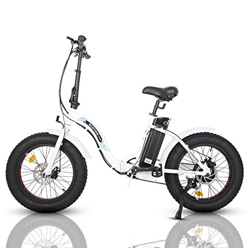 """ECOTRIC 20"""" Fat Tire Folding Bicycle Electric Bike Powerful 500W 36V/12.5AH Lithium Battery Alloy Frame Ebike Rear Motor LED Display (White)"""