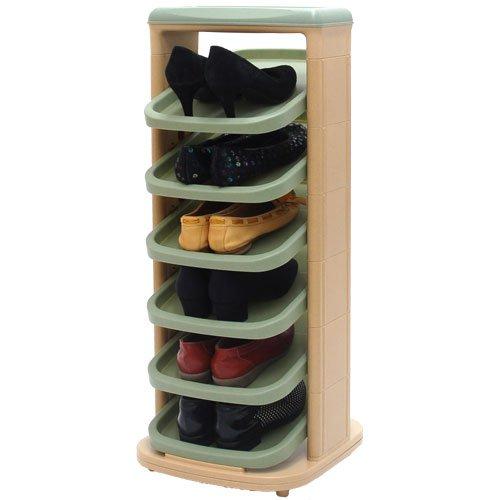 ぼん家具 回転式 シューズラック 省スペース スリム コンパクト 靴入れ スリッパラック 棚 〔6段タイプ〕 グリーン