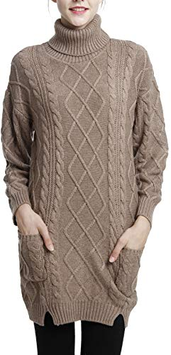 LinyXin Cashmere Damen Winter Kaschmir Langarm Rollkragen Pullover aus Wolle Kleid Gestrickter Sweater Pullover Kleid (S / 38-40, Kamel)