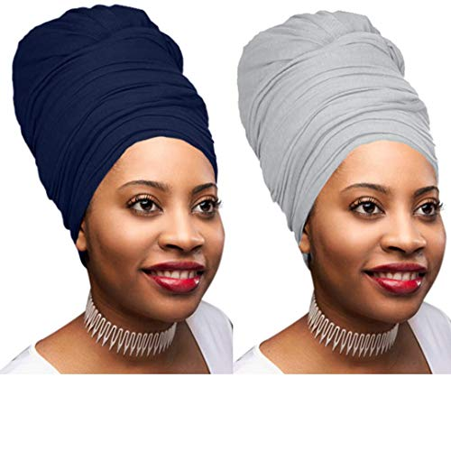 2 Pack Solid Colors Soft Headwraps Headband Long Hair Head Wrap Scarf Turban Tie Jersey Knit African head wraps (2 Pack Navy Blue and Heather Grey)