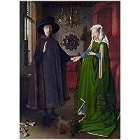 Rzhss 有名な絵画ヴァンエイクアルノルフィーニ結婚式の肖像画キャンバス絵画ポスタープリント壁アート写真部屋の壁の家の装飾キャンバスにプリント-50X70Cmフレームなし