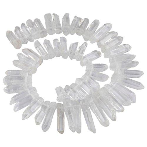 KYEYGWO - Cuentas de cristal de roca irregular de cuarzo con punta perforada para bisutería, manualidades