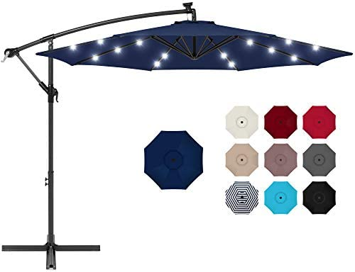Best Choice Products 10ft Solar LED Offset Hanging Market Patio Umbrella for Backyard Poolside product image