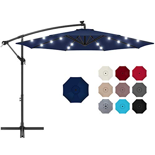 Best Choice Products 10ft Solar LED Offset Hanging Market Patio Umbrella for Backyard, Poolside, Lawn and Garden w/Easy Tilt Adjustment, Polyester Shade, 8 Ribs - Navy Blue