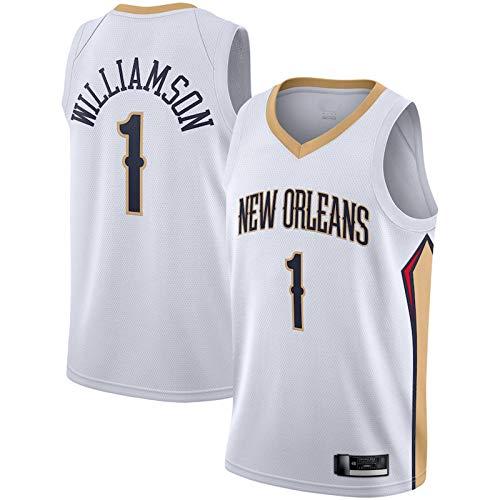 ERERT White - Jersey de baloncesto para hombre de Nueva Orleans Pelicans #1 de baloncesto Zion Williamson uniforme Jersey de limpieza repetible Jersey chaleco