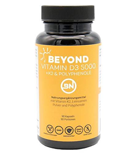 Beyond VITAMIN D3 5000 + K2 MK7 mit Omega-3 Quelle & Polyphenole, 90 Kapseln im Jahresvorrat - das Sonnenvitamin hochdosiert, bioverfügbar & ohne Zusatzstoffe
