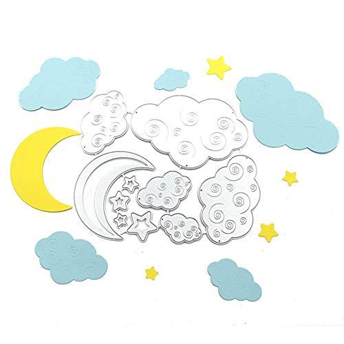 LEZED Plantillas de Estampado de Nubes Luna de Troqueles de Corte Troqueles De Corte De Metal Scrapbooking Forma de Nubes Luna Plantilla De Grabación En Relieve para scrapbooking metal troquelado
