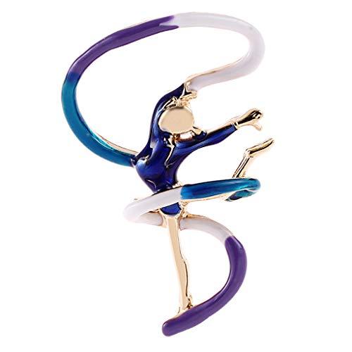 SM SunniMix Charm Fashion Pin Broche Mujeres Pin Broche Dancing Girl Forma Broche Pins - Azul