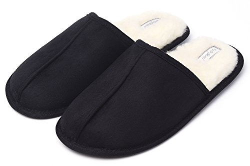 KushyShoo Mens Slippers, Scuff Fluff House Shoes, Slip-On Indoor Outdoor Slipper, Black, Size 9.5-10.5