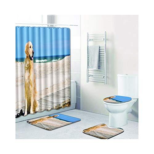 AMDXD Set Polyester 4 Pcs Duschvorhang Toilettenmatte Teppich H& Design Bad Vorhang Teppiche Set Stil 07 180x180CM