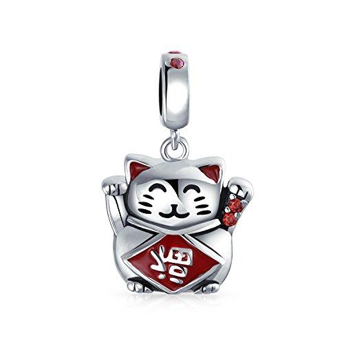 Japanische Maneki Neko Lucky Cat Glück Baumeln Charm Perle für Frauen Rote Emaille .925 Sterling Silber passt europäisches Armband
