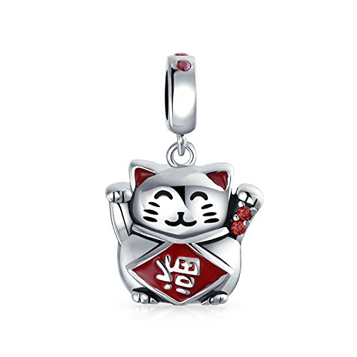 Bling Jewelry Japonés Maneki Neko Suerte Cat Buena Fortuna Colgante Albalorio De Plata Esterlina 925 Mujer Encaja Pulsera Europea