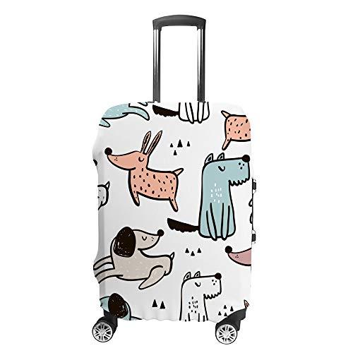 Ruchen - Funda Protectora para Maleta Infantil con diseño de Perros Dibujados a Mano