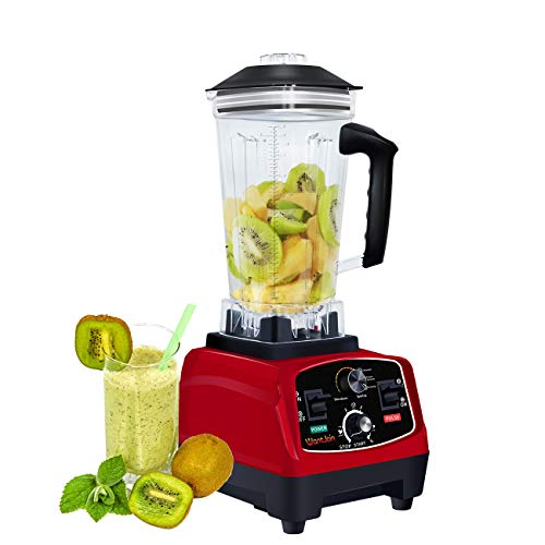WantJoin Professional Countertop Blender for kitchen,2200W Blender with Rubber Pitcher for ice smoothie ,salsa,sauce,juice (RED)