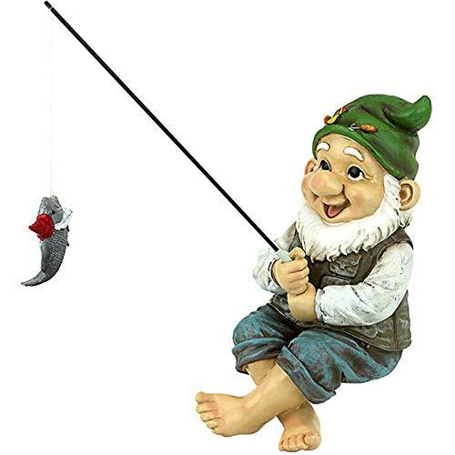 QKFON - Statua da giardino, con gnomo da pesca, divertente da giardino, statuetta nana in miniatura,...
