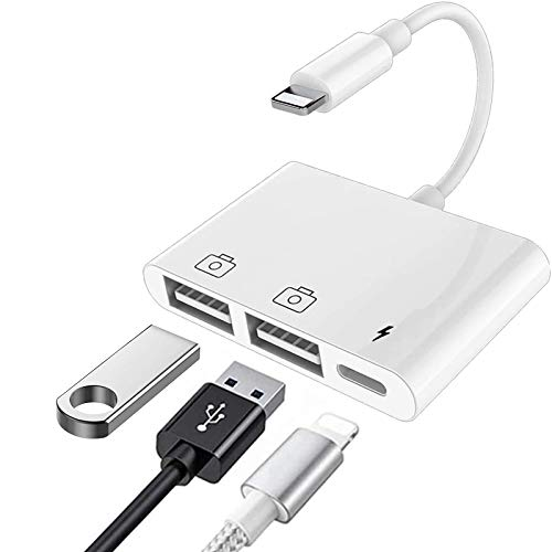 Lightning to USB3 Camera Adapter, Dual USB Female OTG Cable Converter Portable USB Connector with Charging Port Compatible iPhone12,11,X,8,7,iPad,USB Drive,MIDI Keyboard,USB Ethernet Adapter,Hub,Mouse