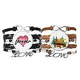 Bestchong Tokyo Japanisches Armband mit Zugturm, Handschlaufe, Lederseil, für immer Liebe, Doppelset