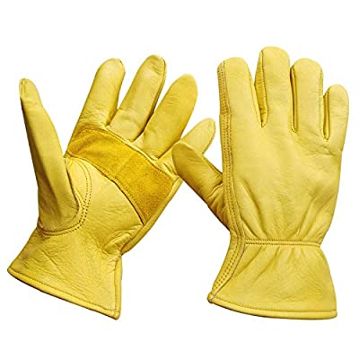 Leather Work Gloves Stretchable Wrist Tough Cowhide Safe Working Glove (1, Medium)