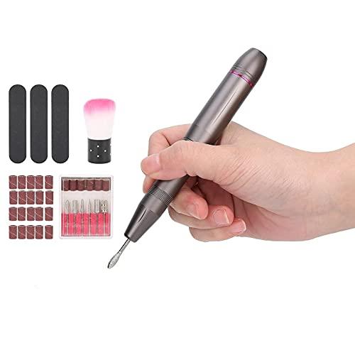 Juego de taladro eléctrico para uñas, herramienta portátil USB de 20.000 rpm para el cuidado de las uñas para recortar, pulir, salón de belleza profesional y uso doméstico