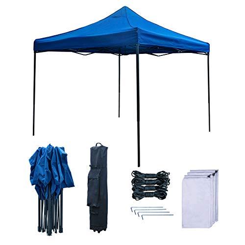RNSSEZ 3mx3m Faltpavillon Wasserdicht Pavillon, Gartenzelt für Party, Terrasse, Garten, Markt - UV Schutz 50+ Pavillon in Blau