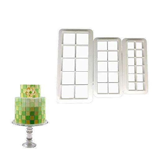 Quadratische Ausstechform für Kuchen, geometrische Multicutter, quadratisch, für Kuchen, Fondant, 3 Größen, quadratisch