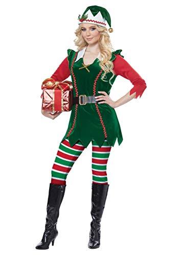California Costumes Women's Festive Elf-Adult Costume, Green/RED, Medium