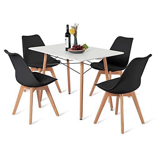 H.J WeDoo Esszimmertisch mit Stühlen, Essgruppe Weiß Tisch mit 4 Schwarz Eiche Stühlen für Esszimmer, Küche & Wohnzimmer