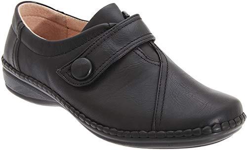 Boulevard - Zapatos con Tira de Velcro con Ancho Especial XXX para Mujer (39 EU/Negro)