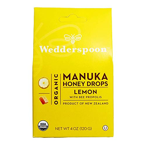 Wedderspoon Organic Manuka Honey Drops Lemon  Bee Propolis Unpasteurized Genuine New Zealand Honey Perfect Remedy For Dry Throats 40 Ounce