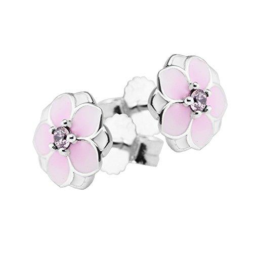 COOLTASTE Spring Collection - Pendientes de plata de ley 925 con diseño de flores de magnolia, color rosa