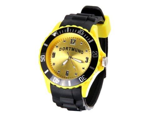 Alsino Dortmund Uhr mit Silikonarmband Fanartikel Fussball Armbanduhr Drehbarer Zierring Herren Kinder Geschenk Idee für Männer Jungen Ur-251